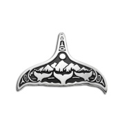 Sterling Silver AK Whale Night Northwest Coast Native American Necklace Pendant. Made in USA.