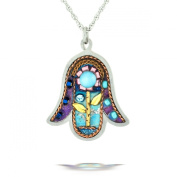 Floral Hamsa Necklace to Protect from the Evil Eye from the Artazia Collection #1035 JN MN