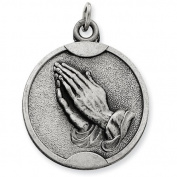 Sterling Silver Antiqued Praying Hands Pendant