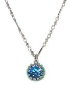 Israeli Designer Mariana Antique Silver Plated Aqua Blue. Crystal Pendant Necklace