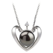 PearlsOnly Heart Black 9.0-9.5mm AA Freshwater Silver with Rhodium Plated Cultured Pearl Pendant
