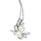Sterling Silver CZ White Cultured Pearl Leaves Necklace - 45.7cm - JewelryWeb