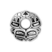 Sterling Silver Eagle Round Northwest Coast Native American Necklace Pendant. Made in USA.