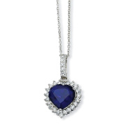 Sterling Silver Heart Synthetic Sapphire CZ Necklace - 45.7cm - JewelryWeb
