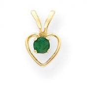 14k 3mm Emerald Heart Birthstone Pendant Child Chain 15 Inch - Measures 10x6mm - JewelryWeb
