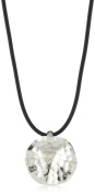 """Zina Sterling Silver """"Sahara Collection"""" Ripple Textured Disc Pendant Necklace"""