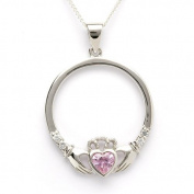 OCTOBER Birthstone Silver Claddagh Pendant LS-SP90-10. Made in Ireland.
