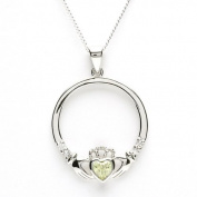 AUGUST Birthstone Silver Claddagh Pendant LS-SP90-8. Made in Ireland.