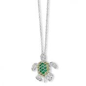 Sterling Silver Sim. Peridot Sim. Emerald CZ Turtle Necklace - 45.7cm - JewelryWeb