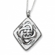 Sterling Silver Faith, Hope, Love, Peace 45.7cm Necklace