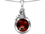 Original Star K(tm) Loving Mother With Child Family Large Pendant With Round 10mm Simulated Garnet in .925 Sterling Silver