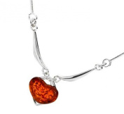 Sterling silver and heart-shaped, cognac amber necklace
