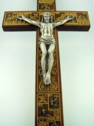 Large Wood Wall Hanging Crucifix Stations of the Cross