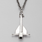 Sterling Silver Danforth Anchor Pendant with 61cm Stainless Steel Cable Chain