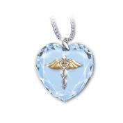 Crystal Heart Caduceus Pendant Necklace