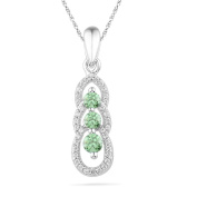 Platinum Plated Sterling Silver Lab Created Emerald and Round Diamond Fashion Pendant