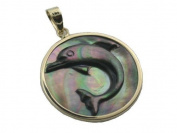 Black Mother Of Pearl Round Dolphin Cameo Pendant, 14k Gold