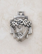 Sterling Silver Head of Christ Medal Catholic Jesus Crown of Thorns Pendant with Stainless Steel Chain