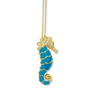 Gold-plated Sterling Silver Enamelled CZ Seahorse Necklace - 45.7cm - JewelryWeb