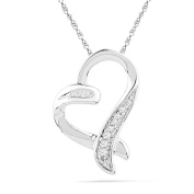 10KT White Gold Baguette and Round Diamond Heart Pendant