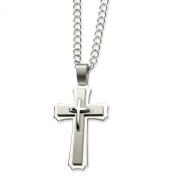 Stainless Steel Cross Pendant Necklace - 61cm - JewelryWeb