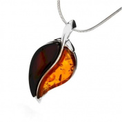 Sterling silver and leaf-shaped, cogac and cherry amber pendant with 46cm sterling silver chain