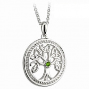 Sterling Silver Irish Celtic Tree of Life Irish Pendant Featuring Trinity Knot Leave Detail