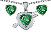 Original Star K(tm) Simulated Emerald Heart with Arrow Pendant Box Set with Free matching earrings in 925 Sterling Silver