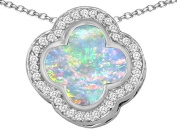 Original Star K(tm) Large Clover Pendant with 12mm Clover Cut Created Opal in 925 Sterling Silver