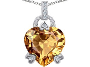 Original Star K(tm) Large Lock Love Heart Pendant with 13mm Heart Shape Simulated Imperial Yellow Topaz in 925 Sterling Silver