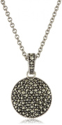 Judith Jack Sterling Silver Marcasite and Crystal Pave Reversible Circular Pendant Necklace, 40.6cm
