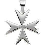 Sterling Silver Maltese Cross Necklace, 61cm Chain