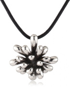 """Zina Sterling Silver """"Fireworks"""" Pendant Necklace In Oxidised Sterling Silver On Leather Cord"""