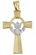 Two Tone 10K Gold Claddagh Irish Cross Pendant