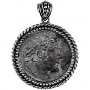 Alexander the Great Sterling Silver Drachma Roman Coin Replica with Artisan Bail Set in Artisan Coin Frame with Rope Border