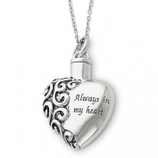 Sterling Silver Antiqued Always In My Heart 45.7cm Remembrance Necklace