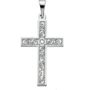Large Cross In 14kt White Gold
