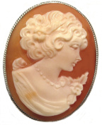 Reflection of Youth, Cameo Pin Pendant Master Carved, Carnelian Shell Sterling Silver Italian