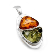 Sterling Silver Ccognac and Green Baltic Amber Pendant on 46cm Sterling Silver Chain