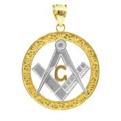 14K Two-Tone Yellow Gold Freemason Round Masonic Bail Pendant 3cm
