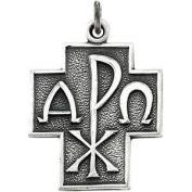Sterling Silver Alpha Omega Chi-Rho Cross Necklace, 61cm