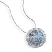 Ancient Roman Glass and Textured Edge Necklace with Chain