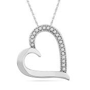 10KT White Gold Round Diamond Heart Pendant
