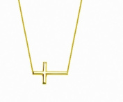 14K Yellow Gold Sideways Cross Necklace Adjustable Chain 45.7cm