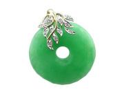 Green Jade Leafy Disc Pendant with Diamonds, 14k Gold