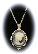 Sterling Silver Vintage Style Agate Cameo Pendant with Chain-Vanessa Carlton