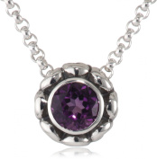 Zina Sterling Silver And Amethyst Swirl Flower Pendant, 45.7cm