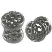 2g 2 gauge 6mm - Black Alloy Double Flared Flare Ear Plugs Flesh Tunnels Earlets AFXO - Ear stretched Stretching Expanders Stretchers - Pierced Body Piercing Jewellery BKT-018 - Sold as a Pair