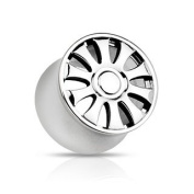 316L Surgical Steel 10-Spoke Wheel Design Double Flared Hollow Tunnel Plug - 0G (8mm) - Sold as a Pair