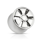 """316L Surgical Steel 6-Spoke Wheel Design Double Flared Hollow Tunnel Plug - 9/16"""" (14mm) - Sold as a Pair"""